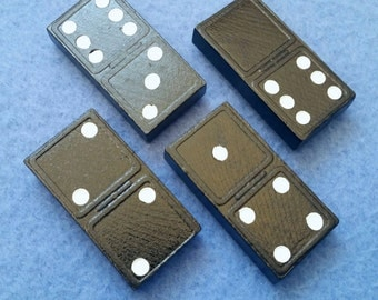 Upcycled Vintage Domino Magnets, set of four, carved wooden dominoes