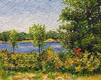 Impressionist style Impasto oil painting 11x14 Michigan Art 'Peek of Blue'