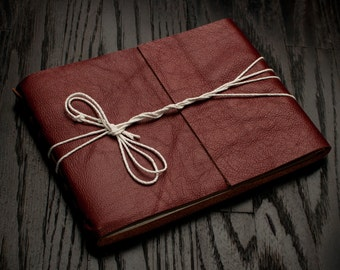 Leather Journal or Leather Sketchbook, Large Sized, Redwood Brown Leather Handbound Photo Album