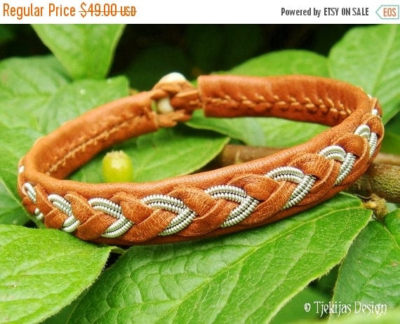Handcrafted ODIN Sami Swedish Viking Leather Bracelet Cognac Bark Brown, Tin Thread Embroidered Men's and Womens Nordic Spirit Jewelry