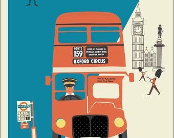 A4 London Bus  Print