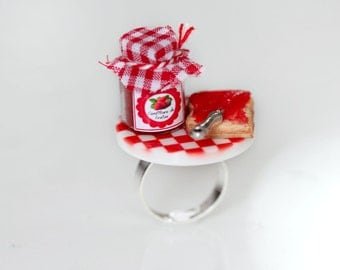 Breakfast Ring - Marmalade Toast Ring  -Strawberry Jam Ring - Food Ring - Kawaii Ring -Miniature Food jewelry-Dollhouse Food-Strawberry Ring
