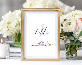 Table Numbers Wedding/Reception - Lavender and Lilac/Winery/Lovebirds (Style 13703)