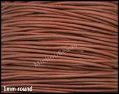 DESTASH 1 Yard 1mm Round LEATHER Cord - LIGHT Brown 3 Feet Genuine Natural Lead free dye Indian Boho Leather Cording By the Yard