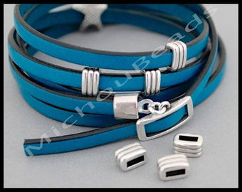 2 Silver SLIDER Beads - 8mm Striped Bar Rectangle Sliders for Flat Leather Cords up to 5mm Cord - Spacer Beads - Made in Greece - 6876