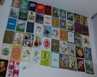deck of 52 different swap playing cards mixed colors variety themes large lot Vintage paper supplies H