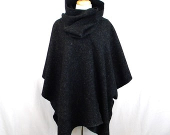 Black Heather Cape with Scarf, Cowl, Ruana, One Size