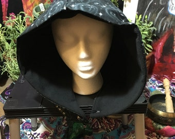 boho/gypsy/festival/burning man hood/hat/skull night skies sack with black fleece for warmth