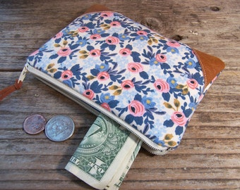 Change purse in Rifle Paper- Coin purse -coin wallet - womens zipper wallet for credit cards and coins - gift card wallet - earbud case