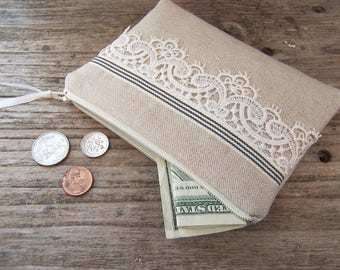 Linen and lace change purse- Coin purse -coin wallet - womens zipper wallet for credit cards and coins - gift card wallet - earbud case