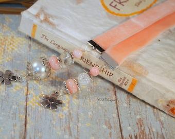 Pink Beaded Ribbon Bookmark. Velvet Ribbon Bookmark, Gift For Her, Book Lovers Gift, Teachers Gift, OOAK Handmade Bookmark.