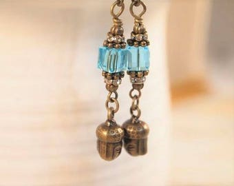 Buddha Earrings, Blue Dangle Pierced or Clip-on Earrings, Boho Chic Earrings, Dainty Buddhist Earrings, Yoga Earrings, CKDesigns.US
