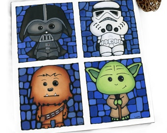 Star Wars Canvas Print - HUGE Star Wars Art - Boy Bedroom Poster - Cute Chewy Print - Cute Vader - Cute Yoda - Stormtrooper Art - Sci-fi
