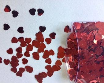 Hearts Confetti, Red hearts metallic Confetti, Valentines Day, table confetti, shiny hearts, Romantic Confetti, Wedding Confetti,