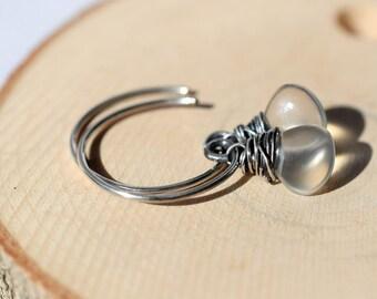 White Chalcedony Earrings, Oxidized Sterling Silver Earrings, Wire Wrapped Briolette Earrings, Silver Open Hoops, White Stone Earrings