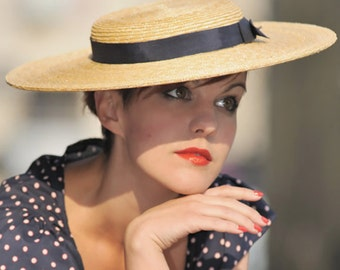 The Lady London Hat - Chapeau de Paille - Straw Boater w/ Contrast Dark Navy Ribbon - Wedding Hat - Ascot Hat - Races Hat - Millinery
