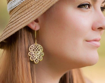 Gold Chandelier Earrings, Gold Floral Jewery, Gold Earrings, Gift For Her