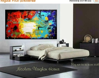 Sale Original X Large Abstract Painting Multi Shades  Ready to Hang Gallery Canvas Contemporary Fine Art Nicolette Vaughan Horner