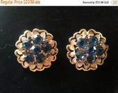 Now On Sale Blue Rhinestone Earrings *  1940's 1950's Vintage Jewelry * Mad Men Mod * Gift For Her * Mother's Day Gift
