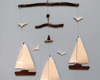 Sailboat Mobile-Y7BR,Yacht,Weathered Brown,Wooden Hull,Vinyl Sail,Seagulls,B,Sailboat,Mobile,Nautical,Nursery Decor,Ocean Mobile,Ocean Art