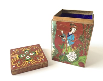 Antique Chinese Cloisonne Box - Vintage Cloisonne Jewelry Box - Oriental Decor - Chinese Box