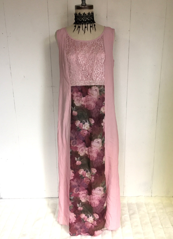 Pink Rose Floral Lace Mauve Grunge Maxi Dress