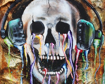 Skeleton painting, music, headphones, guitar, rock, metal, wall art, musician gift, man cave, trippy, surreal, music lovers, musician art