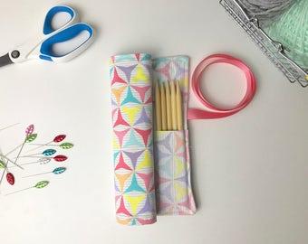 Crochet Hook Case, Knitting Needle Organizer, Knitting Case, Needle Storage, Craft Storage, Geometric Shapes, Pastels, Cotton