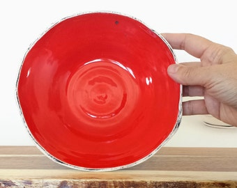 Handmade Ceramic Bowl -| BRIGHT Red with Black Washed Finish