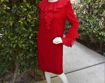 Vintage 1990's Bill Blass Red Dress - Size 8