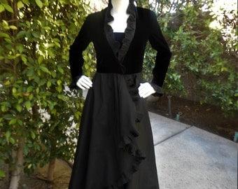 Vintage 1980's Albert Capraro Black Velvet & Taffeta Wrap Style Evening Dress with Pleated Ruffles - Size 8