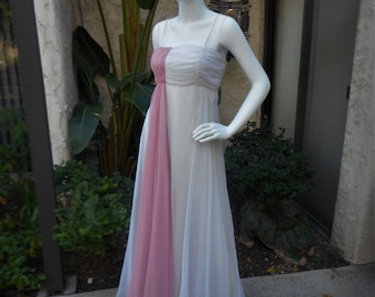 Vintage 1970's Rose Taft for Couture Fashions White & Pink Chiffon Empire Waist Evening Dress - Size 4