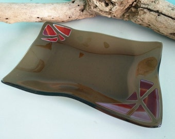 Brown Fused Glass Wave Platter