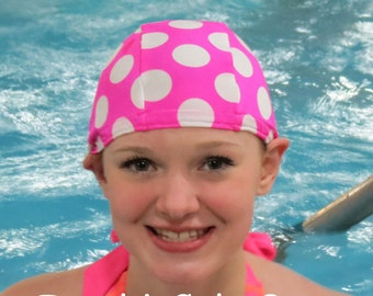Lycra SWiM CaP - PINKIN DOTS - Sizes - Baby , Child , Adult , XL - Made from Spandex / Swimsuit Swimming Fabric -by Froggie's Swim Caps