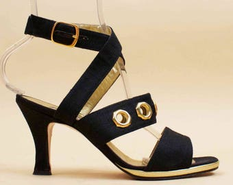 80s 90s Vtg Black DENIM Textile Grommet Gold Hardware High Heel Strappy GLAM Rocker Italian Runway Shoes Eu 37.5 US 7 7.5