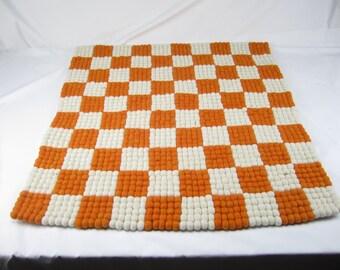 "Tennessee VOLS wool felt ball rug, 38"" x 38"", Handmade felt ball rug, tennessee gift, knoxville, rocky top"