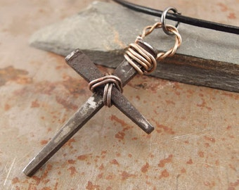 Rustic Medieval Rusty Nails Christian Cross Pendant Necklace Handmade Jewelry for Men or Women