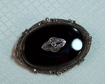 c1920's Victorian Sterling, Onyx and Marcasite Throat Brooch