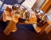 RESERVE KRISTY -Dog log diner - Elevated pet feeder - Rustic pet - Log furniture - Rustic decor