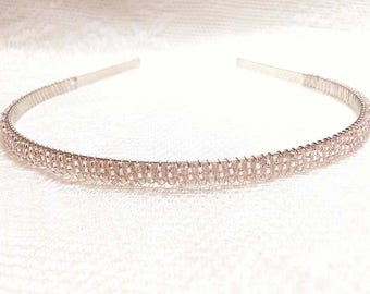 Light Pink Beaded Headband Tiara - Alice Hair Band - Sparkle Collection (Limited Edition) HB5SSL-26