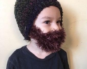 Handmade Crochet Beard hat, beard beanie. Mixed colors hat with brown beard, beard hat, men beard hat