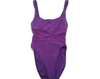 Vintage 80s 90s Purple Mesh High Cut Swimsuit