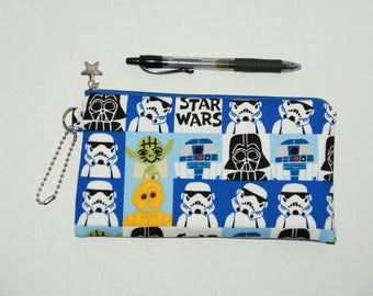 "Padded Zipper Pouch / Pencil Case / Cosmetic Bag Made with Japanese Cotton Oxford Fabric ""Star Wars - Faces"""