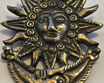 Vintage 'Aztec'-style Sun and Moon Brooch
