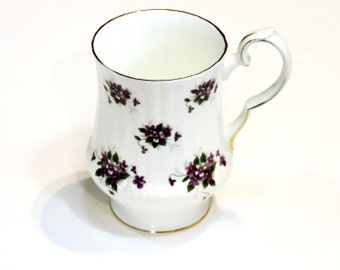 Royal Windsor Tea Cup, Purple Violets English Fine Bone China, Vintage Numbered Collectible Tall Teacup, Shabby Cottage Chic itsyourcountry
