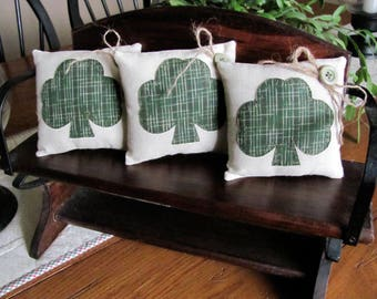 Shamrock Bowl Fillers Clover Leaf Appliqued' Irish St. Patricks Day Decor Ornies Tucks Green Homespun - Three Saint Patrick's Day Pillows