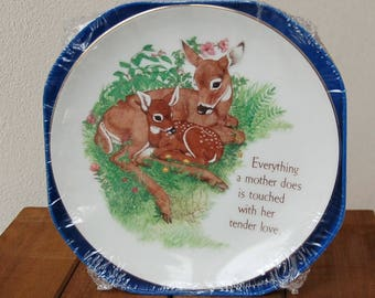 Mother Plate Deer and Fawn Everything a Mother Does is Touched with her Tender Love