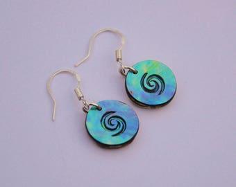 Moana style New Zealand Paua Shell & sterling silver earrings~Moana engraving