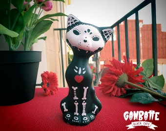 Black Cat BOY Skull Sculpture Cat Handmade Unique Bones Cat Figurine Kitty Cat Day of the Dead Ganbatte Black Cats