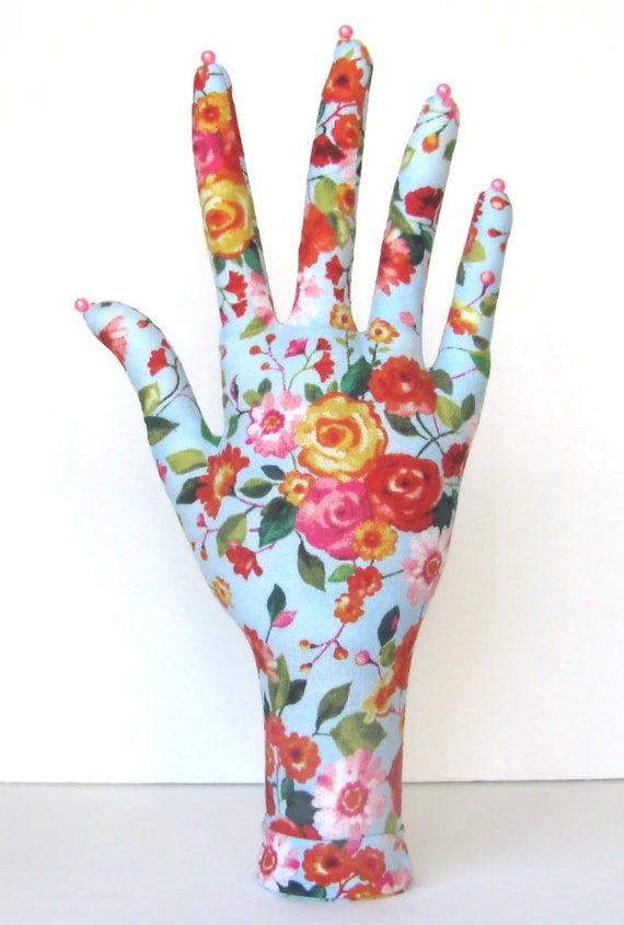 Mini Roses Fabric HAND-Stand Jewelry Display Ready to Ship